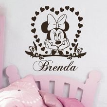 Vinyl Wall Sticker Minnie Mouse Personalized Name Wall Decal Love Heart Shape Wall Mural Babys Room Decor Nursery Wall Art AY983 цена