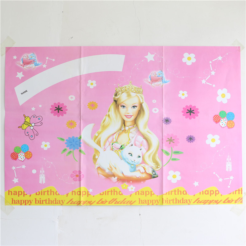 Birthday Background Wallpaper Decoration Kids Girl Happy Birthday Wall Poster Barbie Theme Home Decor Event Party