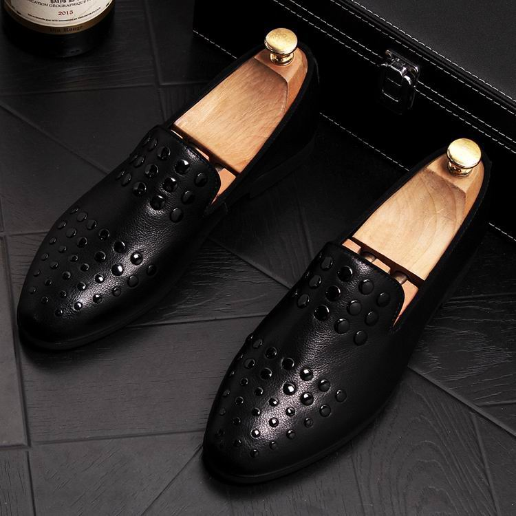 New Arrival Luxury Men Black Loafer Shoes Fashion Designer Slip On Rivets Trending Casual Shoes Man British Chic Zapatos 7