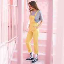 Metersbonwe Women Overalls Straps Jeans Female Basic Straight Yellow Denim Pants Button Stretch Rompers Jumpsuit Jeans(China)