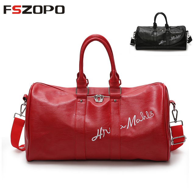 41f885d42d 2018 Pu Leather Gym Male Bag Top Female Sport Shoe Bag for Women Fitness  Over the
