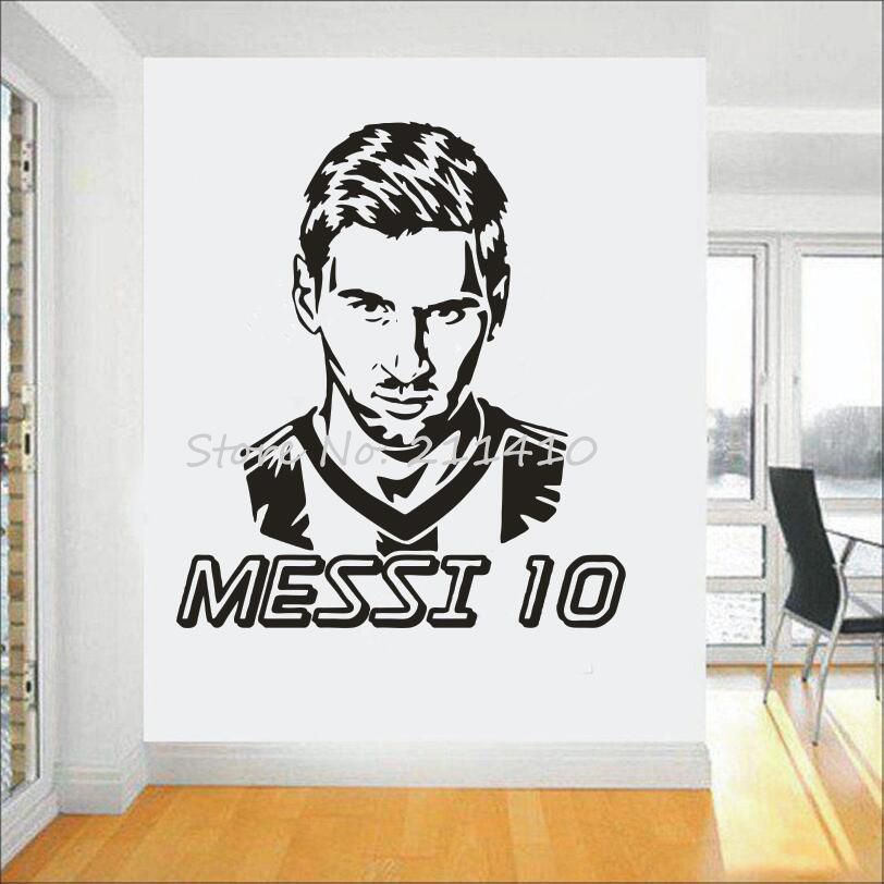 Logo tim sepak bola Wall Art Sticker Messi vinyl wall sticker Untuk Anak Laki-laki Kamar removable dekorasi rumah Football Star ...