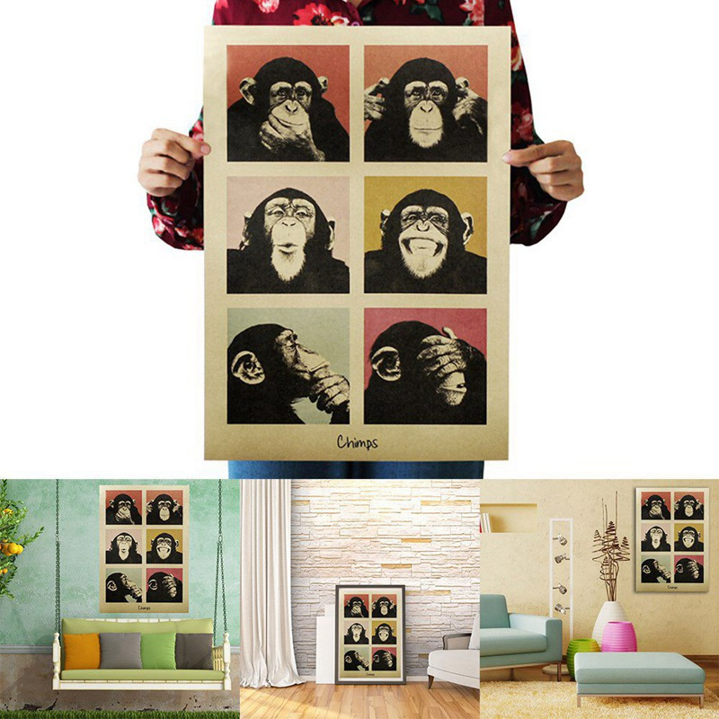 1Pcs Vintage Poster Gorilla Adornment Bar Counter Retro Kraft Paper Posters Movie Poster Wall Stickers Home Decor