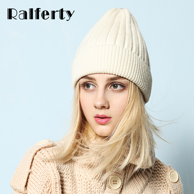 Ralferty Rabbit Knitted Hats For Women White Casual Skullies Beanies Women's Hat Cap Female Thick Warm Hat Ski Cap Solid Color velvet thick keep warm winter hat for women rabbit fur knitted beanies ladies female fashion skullies elegant hats for women