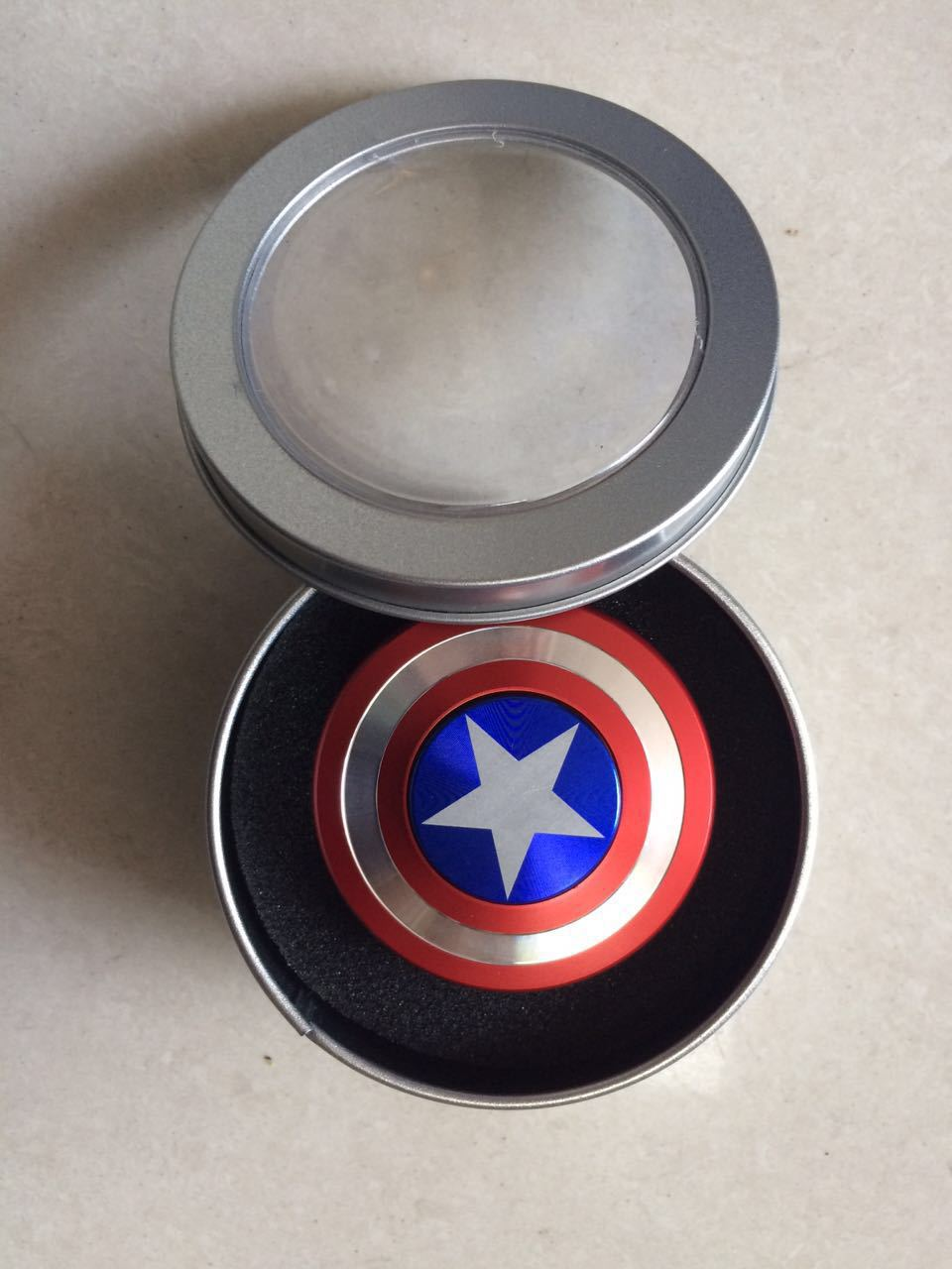 2017 American Captain Edc Tri Spinner Fidget Toys Hand Metal Mainan 3 Circle Arms For Adults Children Educational Hobbies In From