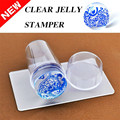 1 Set Nail Art Stamper Scraper with Cap Clear Silicone Marshmallow Nail Tips Decorations Clear Jelly Nail Art Stamper Tools