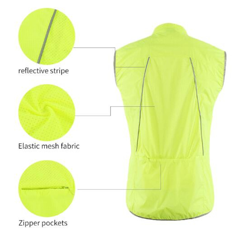 ARSUXEO Men 39 s Cycling Vest Windproof Running Vest MTB Bike Bicycle Reflective Clothing Sleeveless Jersey Cycling Jacket in Cycling Vest from Sports amp Entertainment