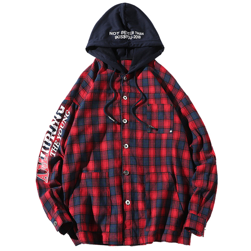 5XL Oversized Casual Shirt Men Long Sleeves Plaid Hooded Punk Mens Shirts Rave Red Checkered Shirt Desinger Chemise Homme T6V11