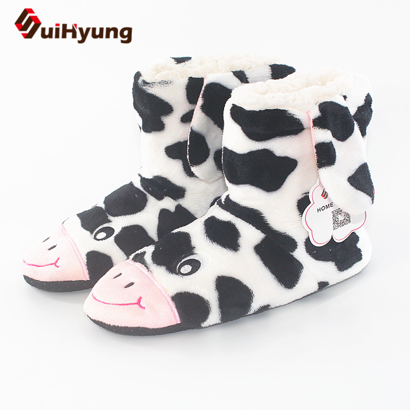 цена на Suihyung Women Winter Thermal Indoor Shoes Home Slippers Cute Animal Botas Girls Cow Leopard Bedroom Floor Slippers Cotton Shoes