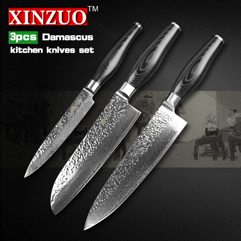 XINZUO 3 pcs kitchen font b knife b font set Damascus kitchen font b knife b