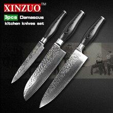 XINZUO 3 pcs kitchen knife set Damascus kitchen knife high quality Japanese VG10 santoku chef  knife kitchen tool free shipping