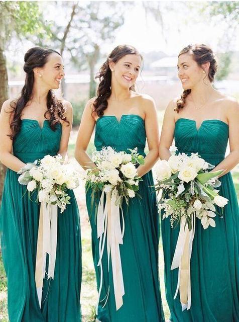 33f8d364a5fe Verde smeraldo Abiti da sposa Su ordine Senza Bretelle Pieghettato Lungo  Damigella D onore Festa