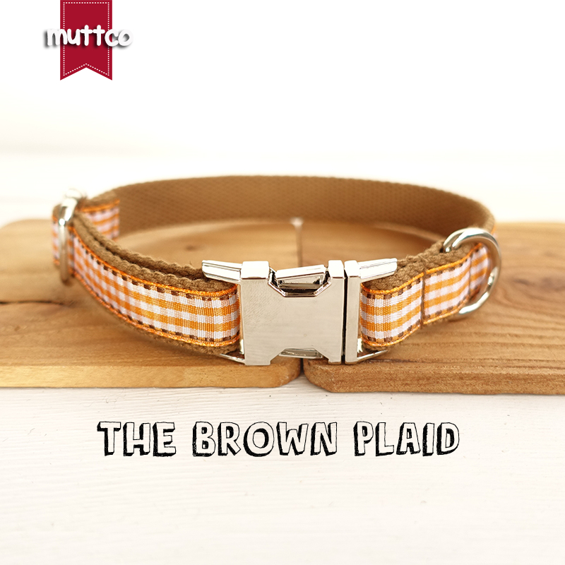 100pcs/lot MUTTCO wholesale exclusive design handmade England style dog collar THE BROWN PLAID bright dog collars 5 sizes UDC013
