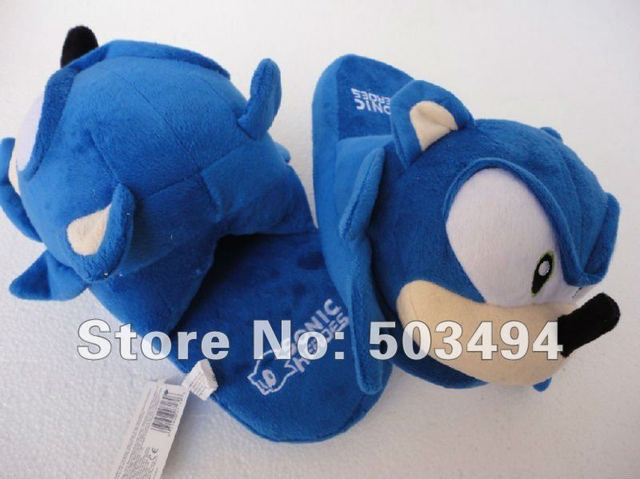 Free shipping EMS Sonic slippers Sonic Hedgehog Plush Toys Slipper 11'' 40 Pairs/LOT