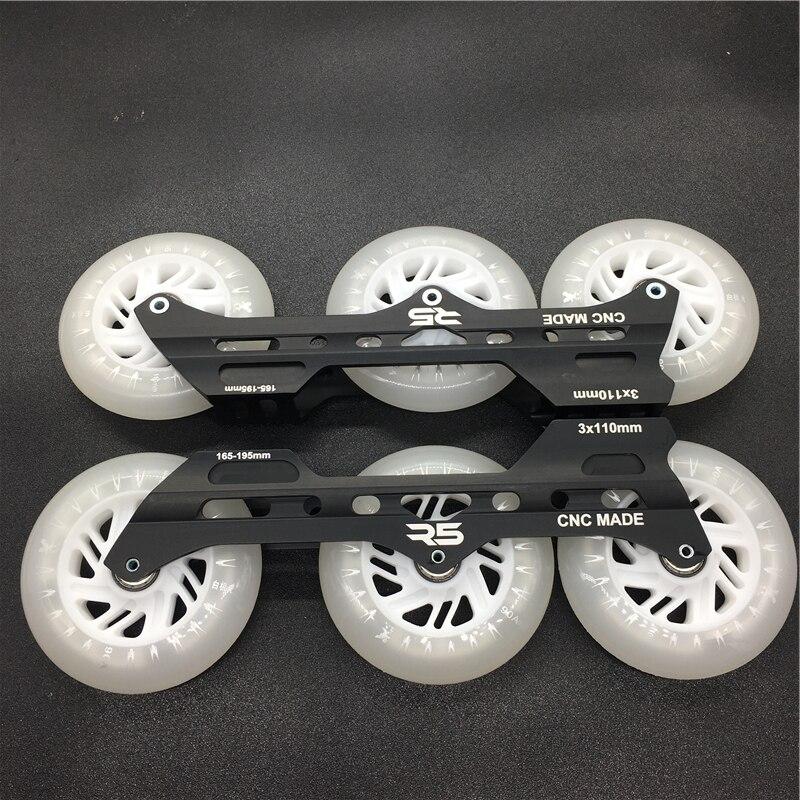 Cadre de patins de vitesse en ligne R5 3*110mm avec LED de roue de patinage Flash 110mm ILQ-11 boulon d'espacement de roulement en acier chromé à grande vitesse 608