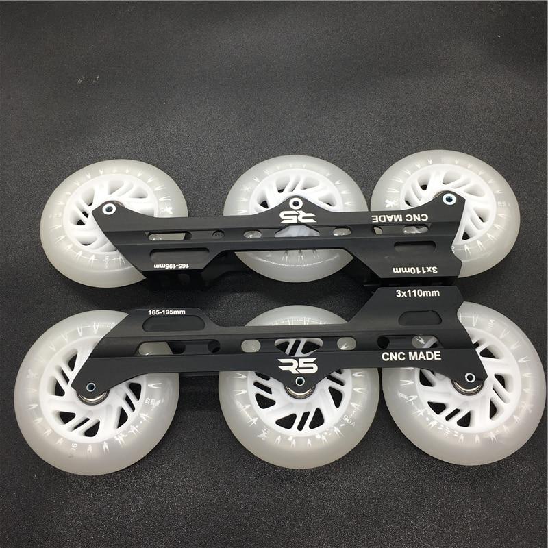 R5 3*110mm Inline Speed Skates Frame with 110mm LED Flash Skating Wheel ILQ-11 High Speed Chrome Steel 608 bearing spacer bolt