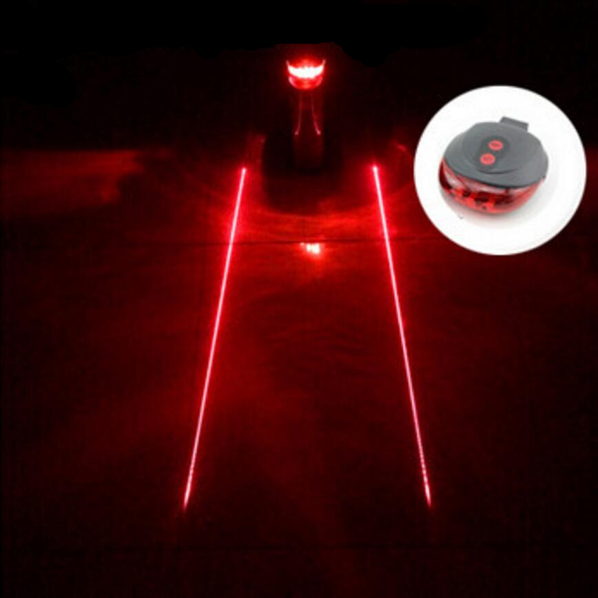 5LED 2Laser Retail free shipping factory Cycling Safety Bicycle Rear Lamp Bike Laser Tail Light Bicicleta Caution TL0006