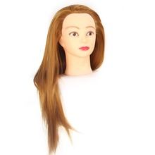 Mannequin Head  Yellow Hair Synthetic Hairdressing Doll Heads Cosmetology Women Hairdresser Manikin