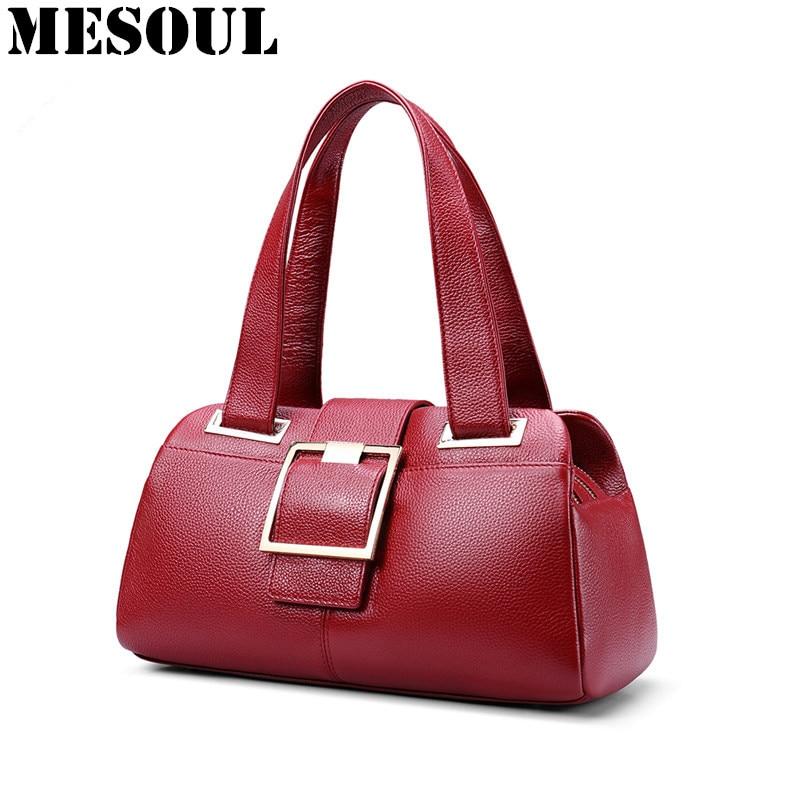 Woman Handbags Designer Genuine Leather Bag Fashion Boston Shoulder Bags Female Purse Blue Red Tote Cow