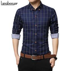 Новые осенние модные брендовые Для мужчин одежда Slim Fit Для мужчин рубашка с длинными рукавами Для мужчин клетчатая хлопчатобумажная