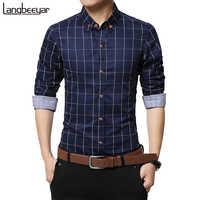 Nueva moda de otoño ropa de hombre de marca Slim Fit hombres camisa de manga larga hombres a cuadros de algodón Casual hombres camisa Social Plus tamaño M-5XL