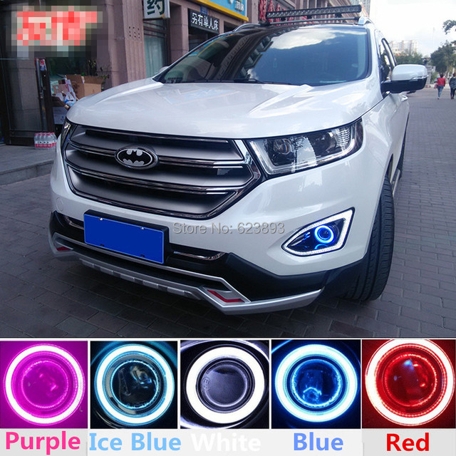 Car Styling Fit Ford Edge   Led Daytime Running Lights Drl Projector Lens Fog Lights Angel Eyes Kit