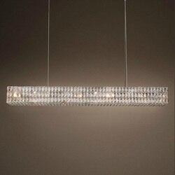 Luksusowe kryształ restauracja liniowe duży żyrandol Retro prostokąt światła oprawa do salonu europejskiego salon lampa 110 V-240 V
