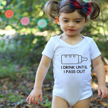 Baby Rompers White Newborn Boys Romper Girls Clothes I Drink Until I Pass Out Print Short Sleeve Summer Baby Clothing