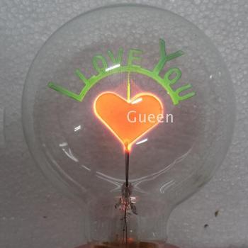 Pack Of  6 G80 E27 Halogen Bulb Edison Retro Filament Light (I love you) Sweet Heart  Bulb Decorative