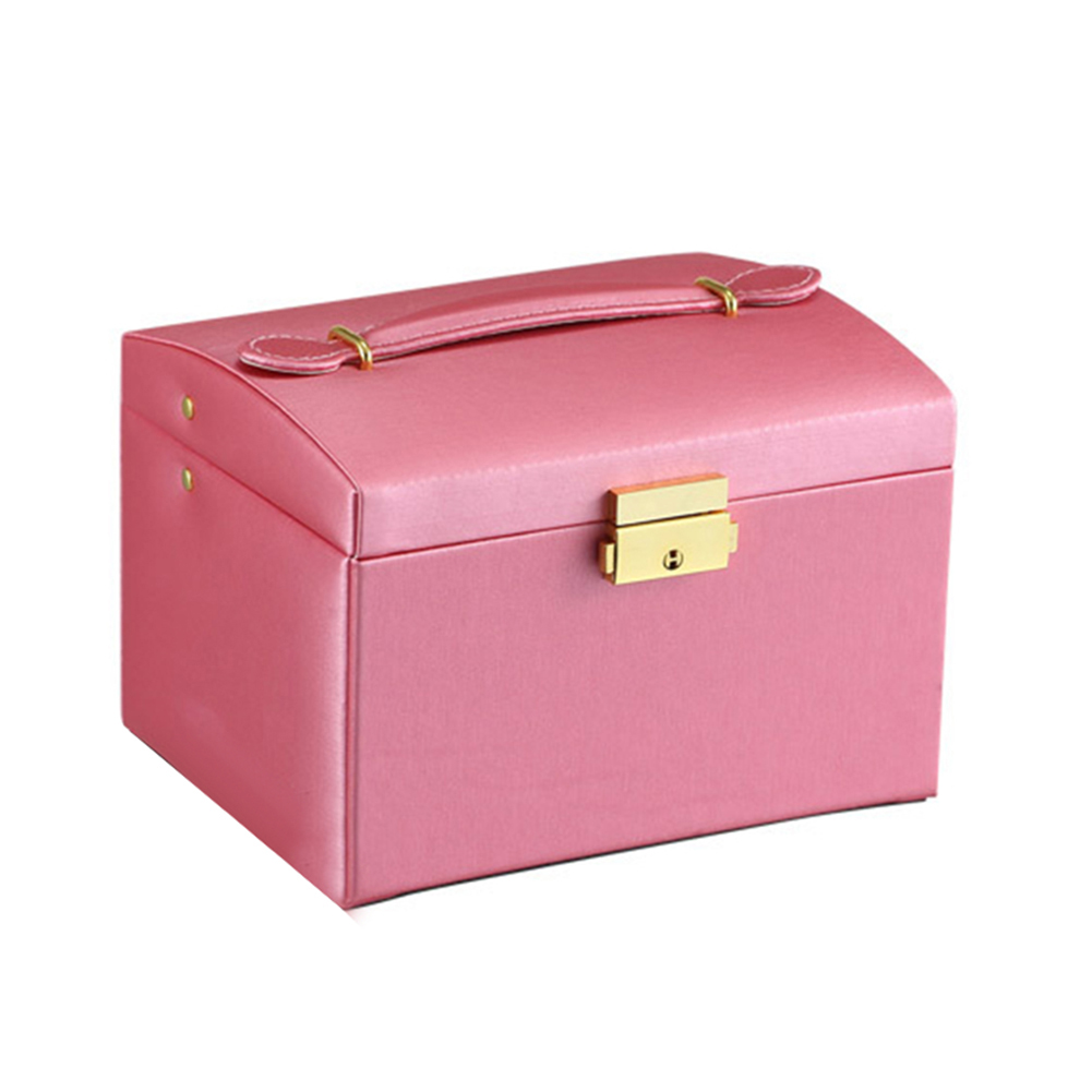 Image 4 - Faux Leather Jewelry Box Necklace Earring Bracelet Storage Case Cabinet Large Jewelry Packaging Boxes with 2 drawers 3 layers-in Jewelry Packaging & Display from Jewelry & Accessories