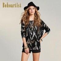 Bohoartist Women Loose Sweater 2017 Autumn Geometric Patchwork Black Knitwear Apparel O Neck Pullover Ladies Knitwear