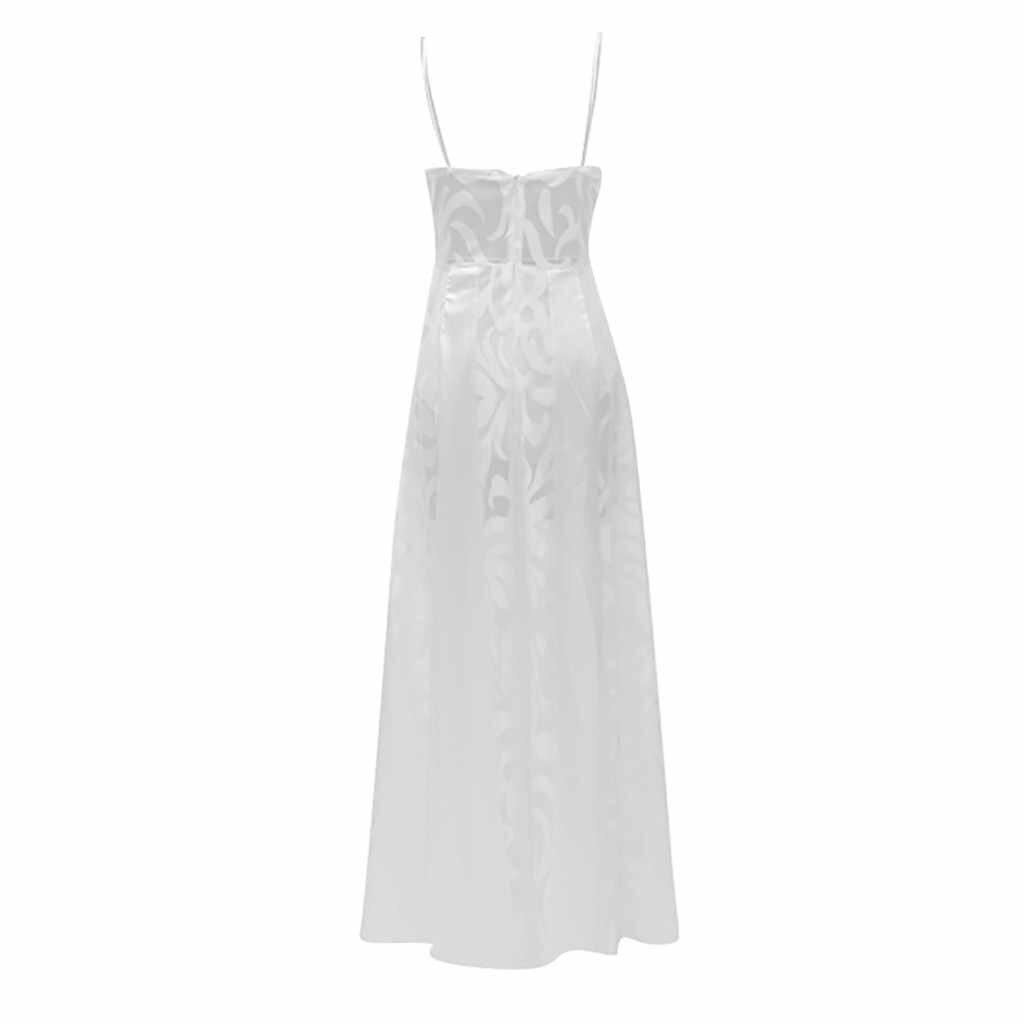 חוף שמלת נשים קיץ ספגטי רצועות V-צוואר חתונה כלה שמלות פסים פרספקטיבה לבן מקסי שמלת Robe Femme