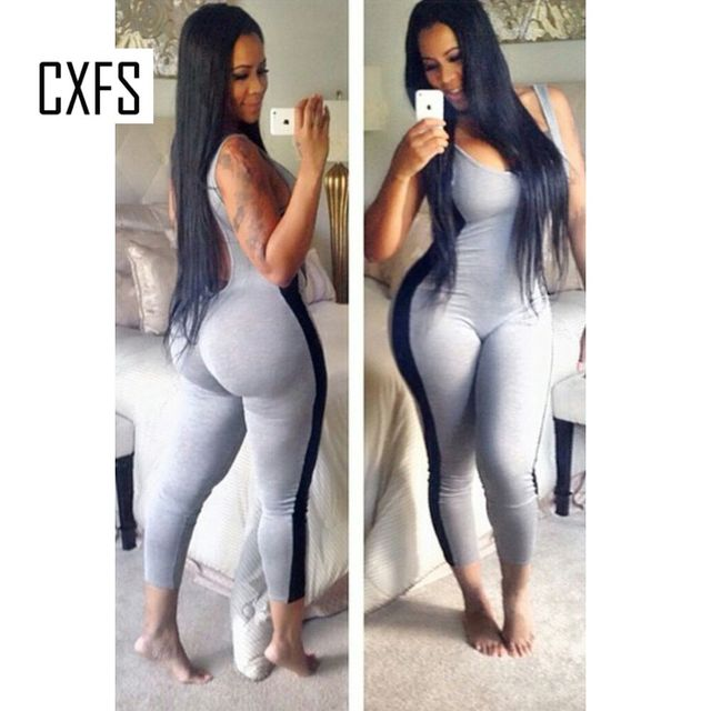 add0c7c4b4e8 Summer New Style Sexy One Piece Outfits Bodycon Grey Jumpsuits Playsuit Sexy  Patchwrok Backless Club Wear Rompers Women Jumpsuit