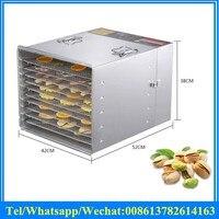 Stainless steel Fruit Dryer Fruit Dehydrator Herb Dryer /food dehydrator machine 10 trays