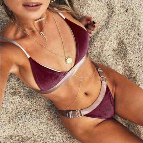 Damska wyściełana bikini push-up zestaw Hot 2019 aksamitne plaża strój kąpielowy stroje kąpielowe kostiumy kąpielowe