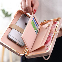 Fashion Women Purse Wallet Phone Bag Leather Case For Iphone 7 Plus 6s 5 Phone Cover