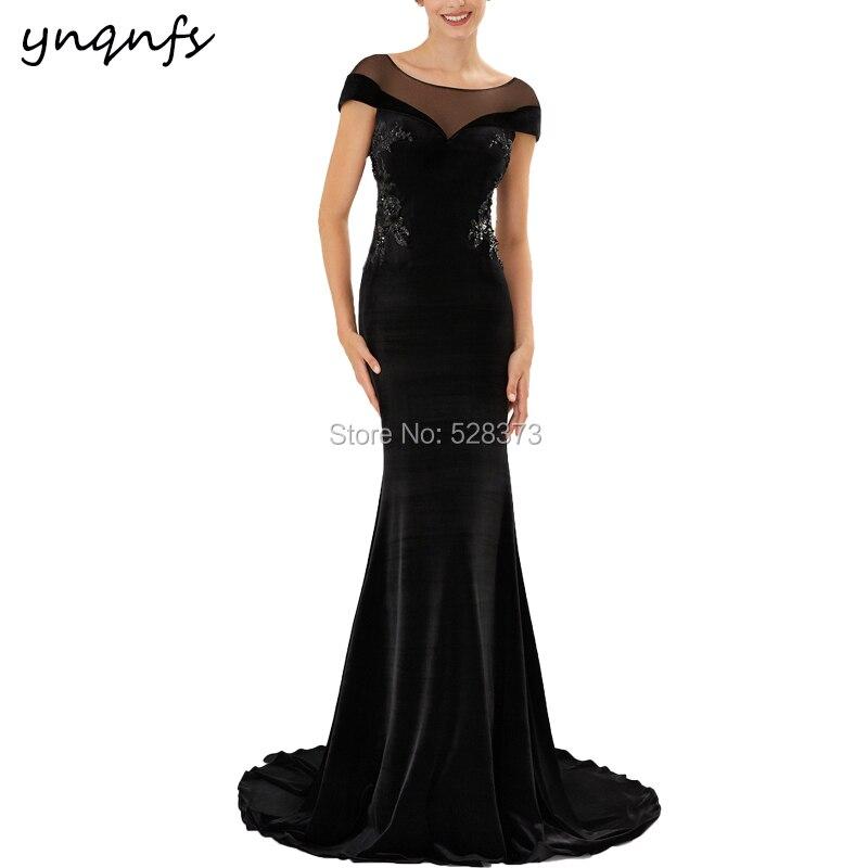 YNQNFS MD276 Vestido Longo  Mermaid Dress Elegant Black Velvet Mother Of The Bride Dresses Groom Outfits Vestido De Festa 2019