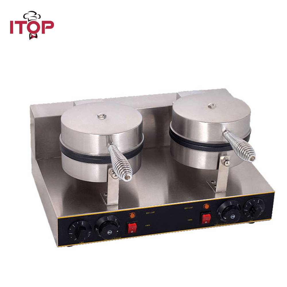 ITOP Double Head Waffle Makers bubble egg cake oven eggettes puff Electric Non-Stick Cooking Waffle Machine directly factory price commercial electric double head egg waffle maker for round waffle and rectangle waffle