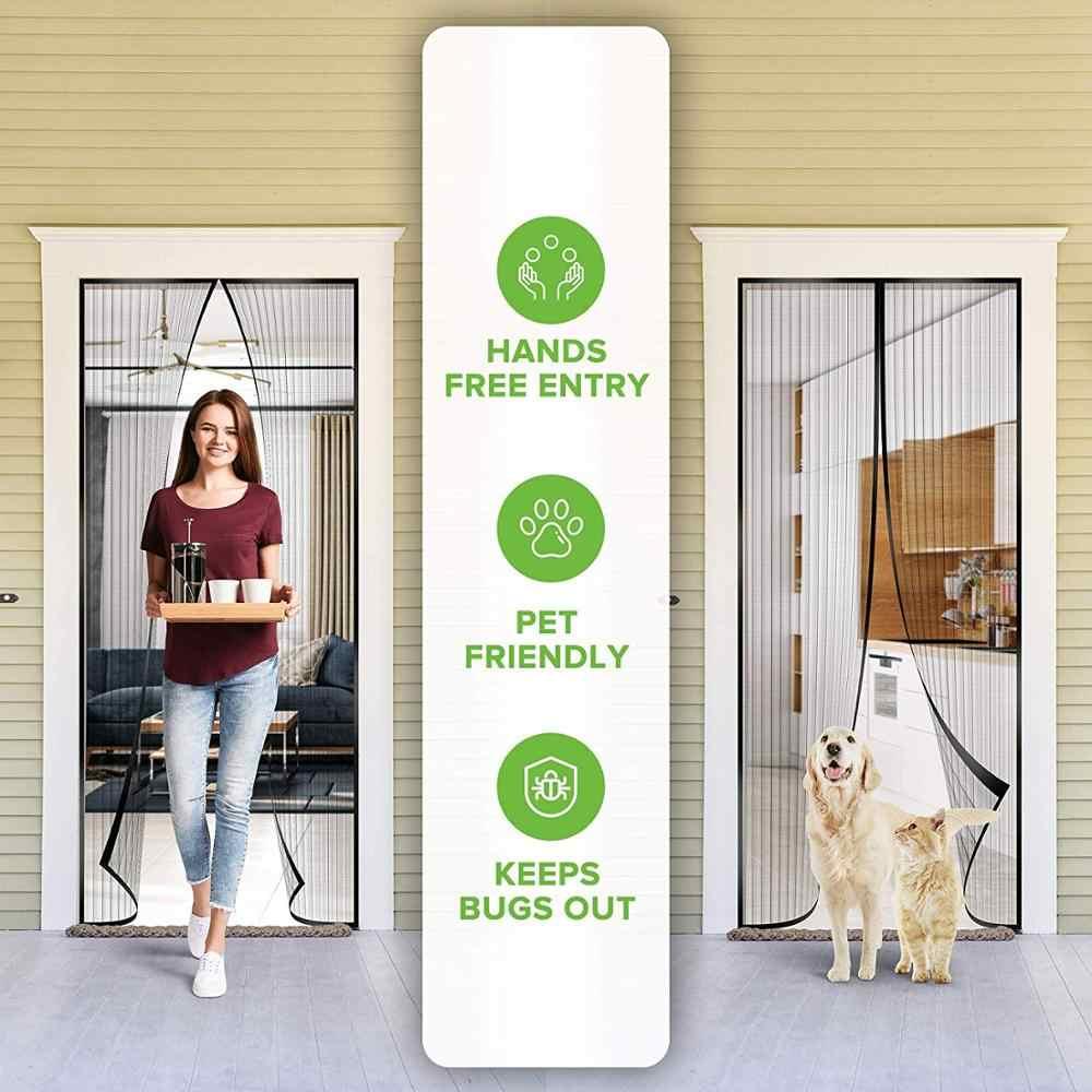 """Magnetic Screen Door Summer Mesh Curtain Durable Hands-Free Mosquito Net 39/""""x82/"""""""