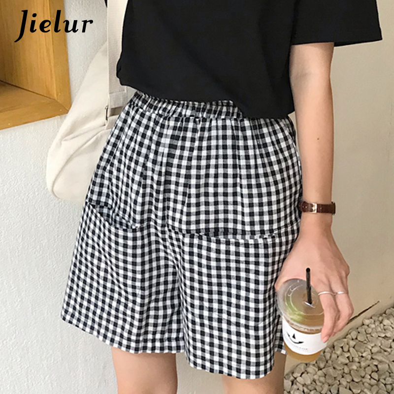 Jielur Summer Shorts Plaid Female Korean-Style High-Waist Women Hipster Simple Harajuku