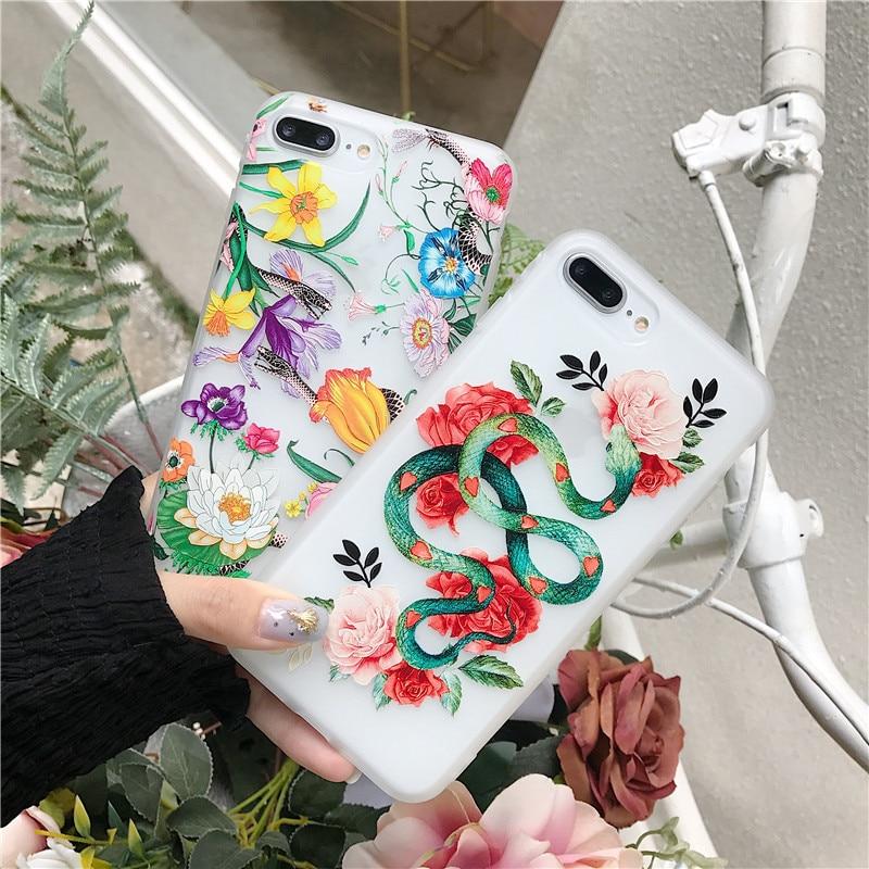 100 шт. оптовая продажа мультфильм змея Цветы Чехол Для Coque iPhone X 6 6s 6 plus 7 7 plus 8 8 плюс случаях Capinha Мягкие TPU силиконовая принципиально