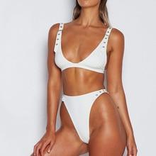 Bikini 2019 new swimwear women's sexy backless swimwear suit push up swimsuit thong punch bikini set burgundy sexy backless self tie bikini set