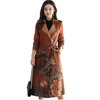 Long Print Suede Trench Coat Plus Size Woman Capuche Womens Coats Outerwear Bayan Kaban Gothic Coat Casacos Feminino Clothes