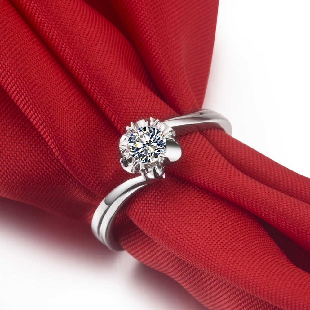 Pretty 0.23Ct Diamantes Sintéticos Anéis de Noivado para As Mulheres Não-alérgicos 925 Cor Anéis em Jóias de Prata Esterlina Ouro Branco