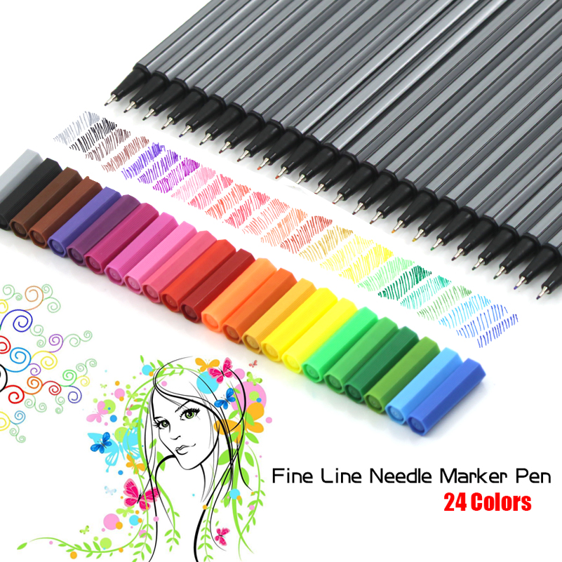 цена на 24 Colors 0.4mm Fine Tip Fineliner Pens Marker Pen Bright Colors Water Based Assorted Ink No-tox Material Hook Fiber Pen