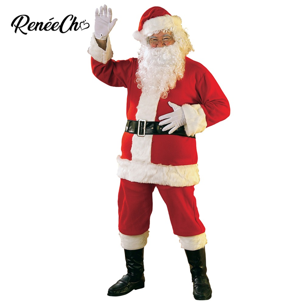 Reneecho 2018 Deluxe Velvet Men Christmas For Adult Santa Claus Costume Christmas Red Cosplay Dress Xmas Father Cosplay Full Set