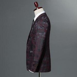 Image 3 - 2019 New Autumn Winter Mens Classic Leopard Print Slim Fit Blazers Male Single Button Casual Business Suit Jacket Wine red Khaki