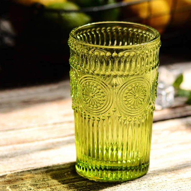 Colorful Class Cup 350ml Large Beer Mug Glass European Style Classic Glass Juice Water Cup Embossed Sunflower Glassware Cup Gift