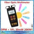 Nueva FTTH fibra medidor de potencia óptica y fuente de luz de fibra óptica Cable Tester VFL localizador Visual 30 mw corrector buscador 20 KM