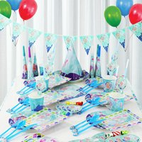 Mermaid Flags Tablecloth Straws Cups Plates Napkin Blowout Cap Disposable Tableware Party Supplies Kid Birthday Party Decoration